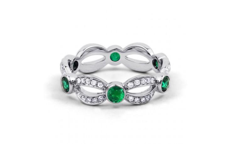 18ct White Gold Emerald & Diamond Designer Full Eternity Band 0.3ct 6mm product image 1