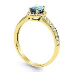 18ct Yellow Gold Aquamarine & Diamond Halo Engagement Ring 0.32ct 2mm image 1