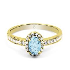 18ct Yellow Gold Aquamarine & Diamond Halo Engagement Ring 0.32ct 2mm image 0