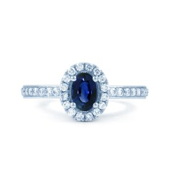 18ct White Gold Blue Sapphire & Diamond Halo Engagement Ring 0.32ct 2mm image 0