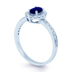 18ct White Gold Blue Sapphire & Diamond Halo Engagement Ring 0.32ct 2mm image 1
