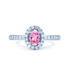 18ct White Gold Pink Sapphire & Diamond Halo Engagement Ring image 0