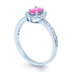 18ct White Gold Pink Sapphire & Diamond Halo Engagement Ring image 1