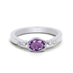 18ct White Gold Amethyst & Diamond Vintage Engagement Ring 0.04ct 2.5mm image 0