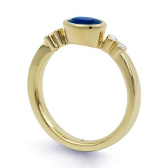18ct Yellow Gold Blue Sapphire & Diamond Vintage Engagement Ring 0.04ct 2.5mm image 1
