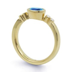 18ct Yellow Gold Blue Topaz & Diamond Vintage Engagement Ring 0.04ct 2.5mm image 1