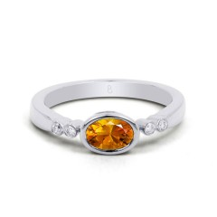18ct White Gold Citrine & Diamond Vintage Engagement Ring 0.04ct 2.5mm image 0