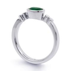 18ct White Gold Emerald & Diamond Vintage Engagement Ring 0.04ct 2.5mm image 1