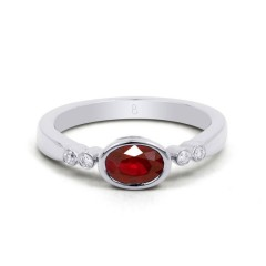 18ct White Gold Ruby & Diamond Vintage Engagement Ring 0.04ct 2.5mm image 0