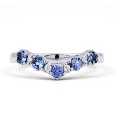 Kei 9ct White Gold Tanzanite Wishbone Ring image 0