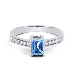 18ct White Gold Blue Topaz & Diamond Vintage Engagement Ring 0.14ct 2.5mm image 0