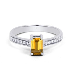 18ct White Gold Citrine & Diamond Vintage Engagement Ring 0.14ct 2.5mm image 0