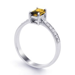 18ct White Gold Citrine & Diamond Vintage Engagement Ring 0.14ct 2.5mm image 1