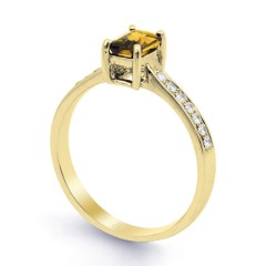 18ct Yellow Gold Citrine & Diamond Vintage Engagement Ring 0.14ct 2.5mm image 1