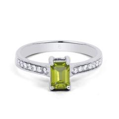 18ct White Gold Peridot & Diamond Vintage Engagement Ring 0.14ct 2.5mm image 0