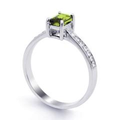 18ct White Gold Peridot & Diamond Vintage Engagement Ring 0.14ct 2.5mm image 1