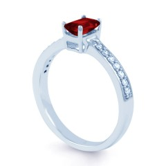 18ct White Gold Ruby & Diamond Vintage Engagement Ring 0.14ct 2.5mm image 1