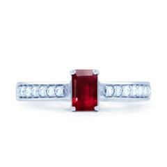 18ct White Gold Ruby & Diamond Vintage Engagement Ring 0.14ct 2.5mm image 0