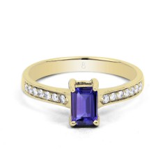 18ct Yellow Gold Tanzanite & Diamond Vintage Engagement Ring 0.14ct 2.5mm image 0