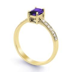 18ct Yellow Gold Tanzanite & Diamond Vintage Engagement Ring 0.14ct 2.5mm image 1