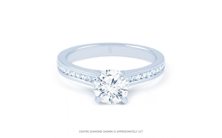 Eleonore Channel Diamond Engagement Ring in White Gold product image 1