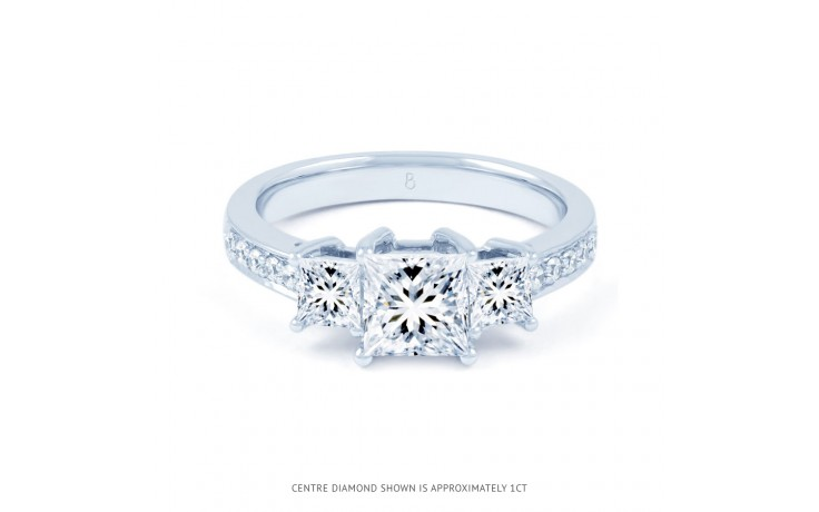 Lucia Princess Cut Diamond Engagement Ring in White Gold product image 1