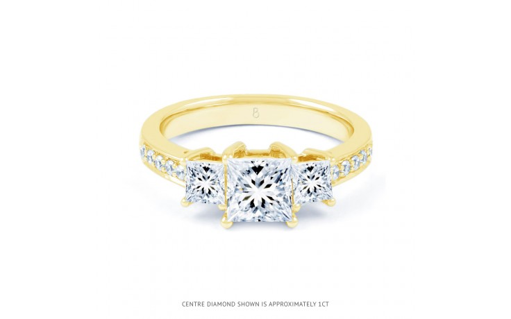 Lucia Princess Cut Diamond Engagement Ring in Yellow Gold product image 1