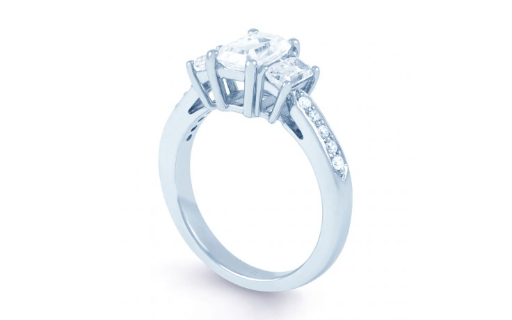 Lucia Emerald Cut Diamond Engagement Ring in White Gold product image 2