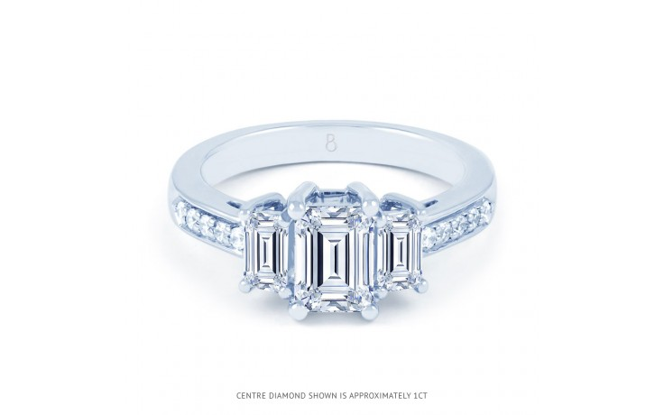 Lucia Emerald Cut Diamond Engagement Ring in White Gold product image 1