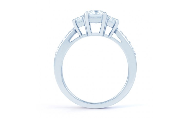 Lucia Emerald Cut Diamond Engagement Ring in White Gold product image 3