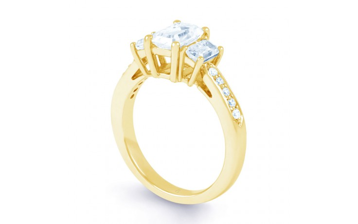 Lucia Emerald Cut Diamond Engagement Ring in Yellow Gold product image 2