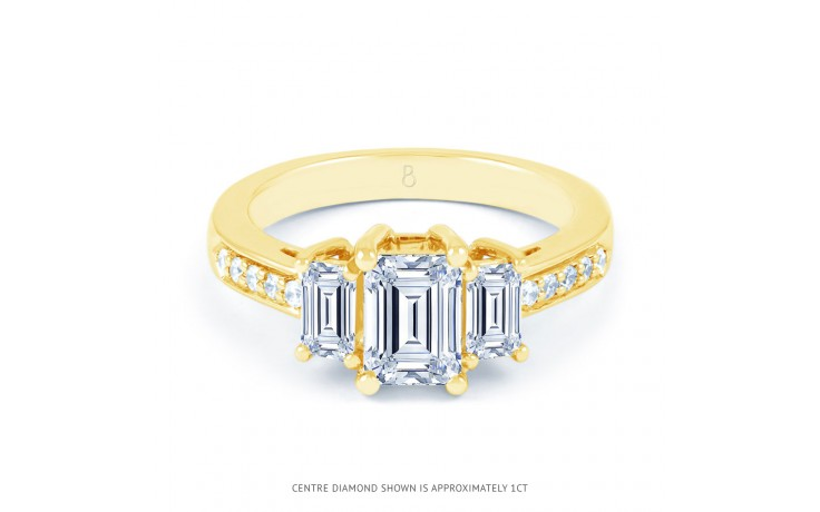 Lucia Emerald Cut Diamond Engagement Ring in Yellow Gold product image 1