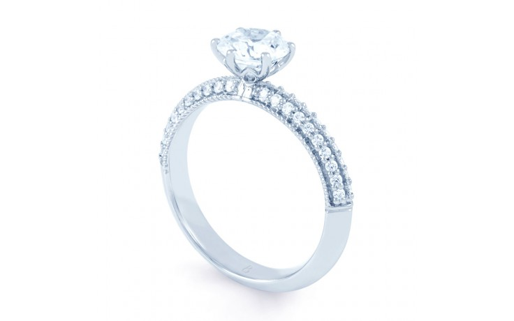 Alia Vintage Diamond Engagement Ring in White Gold product image 2