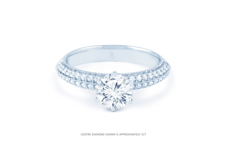 Alia Vintage Diamond Engagement Ring in White Gold product image 1