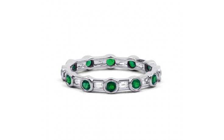 18ct White Gold Emerald & Diamond Full Eternity Ring 0.42ct 3mm product image 1