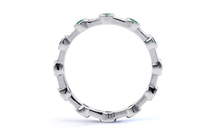 18ct White Gold Emerald & Diamond Full Eternity Ring 0.42ct 3mm product image 3