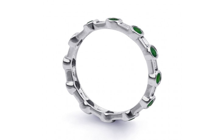 18ct White Gold Emerald & Diamond Full Eternity Ring 0.42ct 3mm product image 2