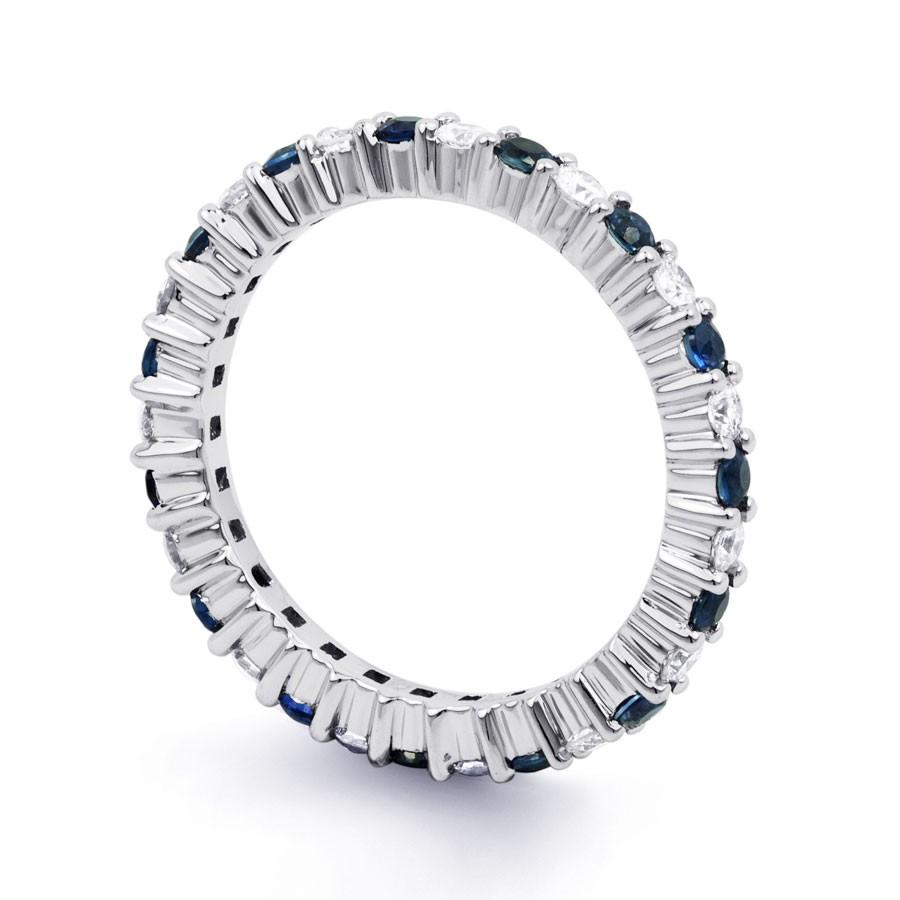 White Gold Blue Sapphire Amp Diamond Full Eternity Ring