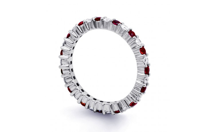 18ct White Gold Ruby & Diamond Full Eternity Band 0.45ct 2.3mm product image 2