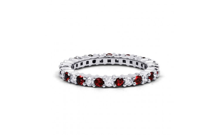 18ct White Gold Ruby & Diamond Full Eternity Band 0.45ct 2.3mm product image 1
