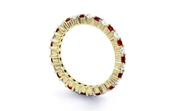 18ct Yellow Gold Ruby & Diamond Full Eternity Ring Band 0.45ct 2.3mm product image 2