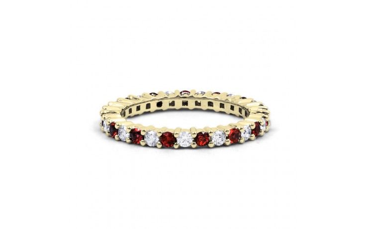 18ct Yellow Gold Ruby & Diamond Full Eternity Ring Band 0.45ct 2.3mm product image 1