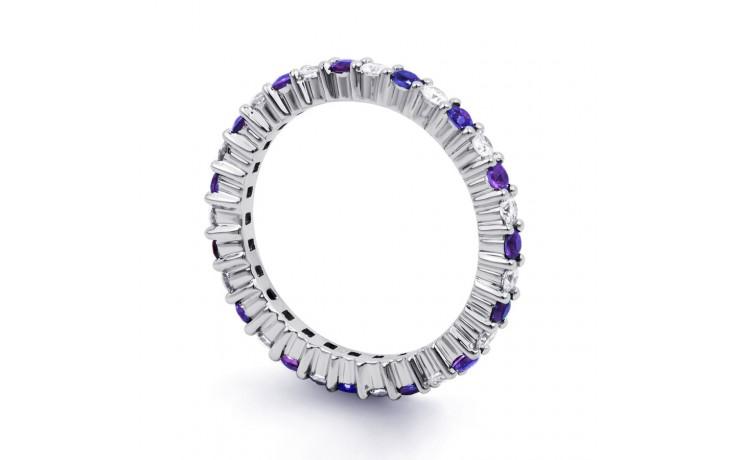 18ct White Gold Tanzanite & Diamond Full Eternity Ring Band 0.45ct 2.3mm product image 2