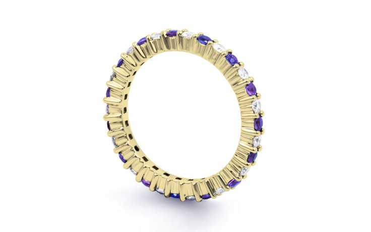 18ct Yellow Gold Tanzanite & Diamond Full Eternity Ring Band 0.45ct 2.3mm product image 2