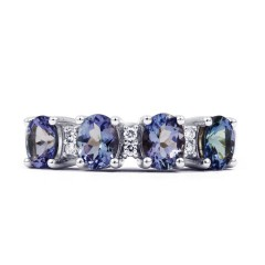 Amor 18ct White Gold Tanzanite and Diamond Eternity Ring image 0