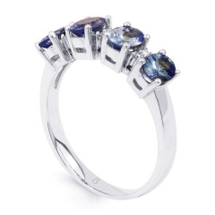 Amor 18ct White Gold Tanzanite and Diamond Eternity Ring image 1