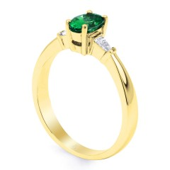 18ct Yellow Gold Emerald & Diamond Baguette Engagement Ring 0.18ct 2mm image 1