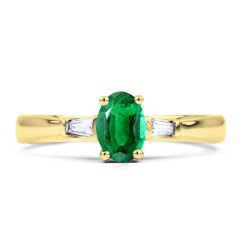 18ct Yellow Gold Emerald & Diamond Baguette Engagement Ring 0.18ct 2mm image 0