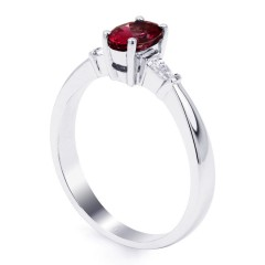 18ct White Gold Ruby & Diamond Tapered Baguette Engagement Ring 0.18ct 2mm image 1