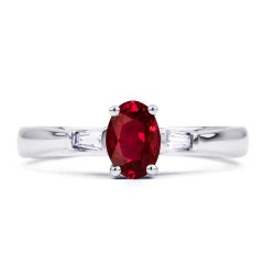 18ct White Gold Ruby & Diamond Tapered Baguette Engagement Ring 0.18ct 2mm image 0